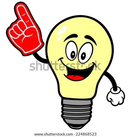 light bulb with foam finger