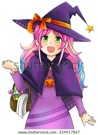 pretty witch of halloween in
