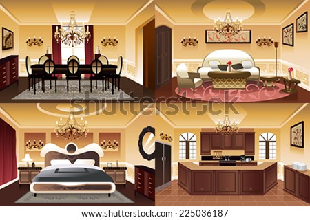 a vector illustration of rooms
