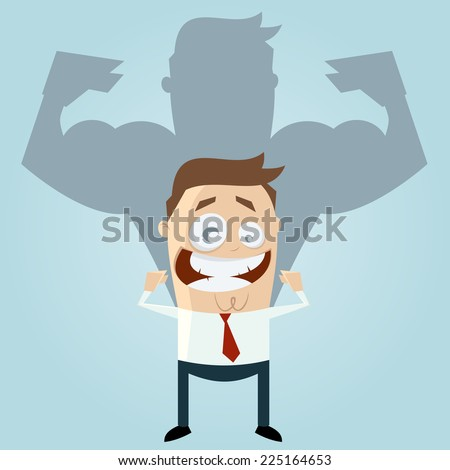 funny businessman is strong