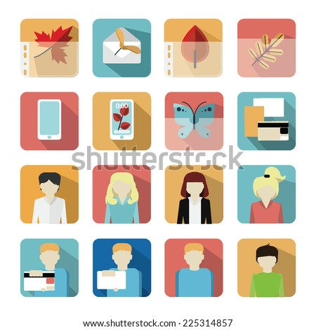 colored autumn vector icons set