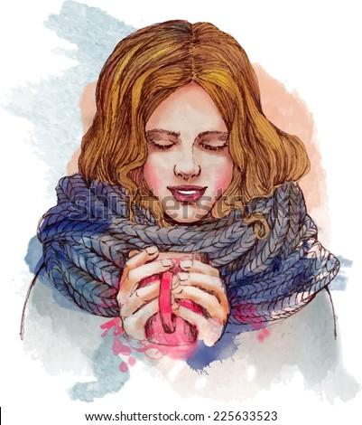 beautiful girl drinking  hot