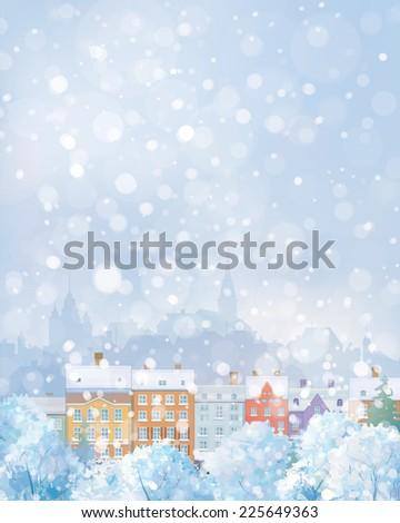 vector winter cityscape