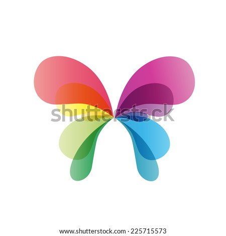 vector sign rainbow butterfly