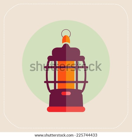 kerosene lamp icon flat