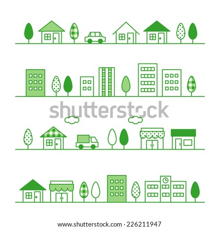stores and houses on a street