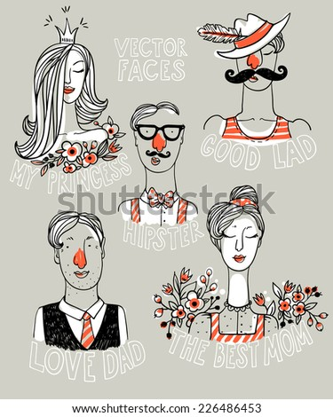 vector set of hand drawn funny