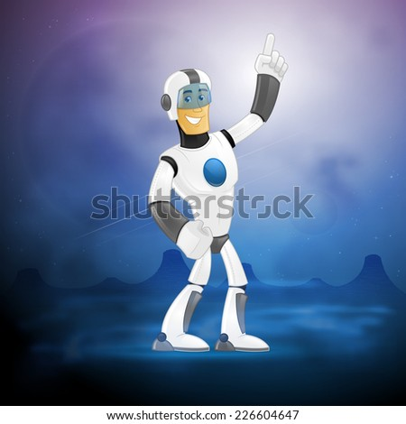 happy futuristic space soldier