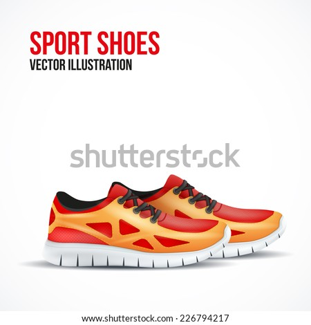 running colorful pair shoes