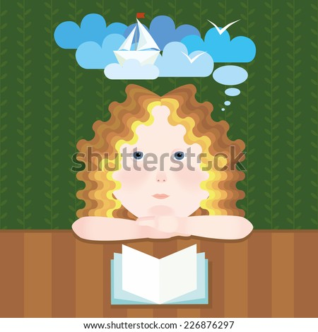 dreamy girl reads book vector