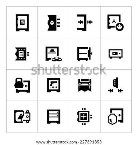 set icons of safe isolated on
