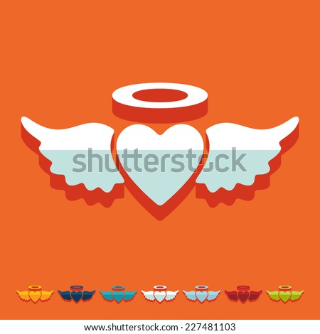 flat design  heart angel