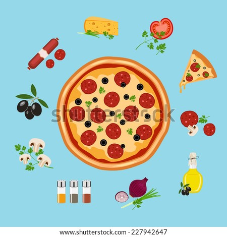 pizza flat style vector