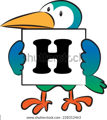 bird holding a card with