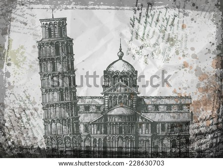 italy pisa tower sketch vector