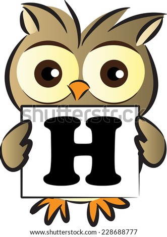 owl holding a card with letter h
