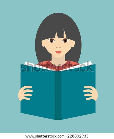 girl reading a book flat