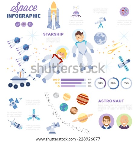 space infographic with flat