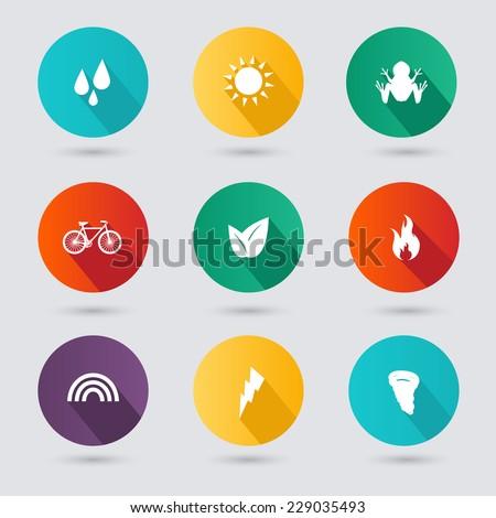 flat design style nature icons