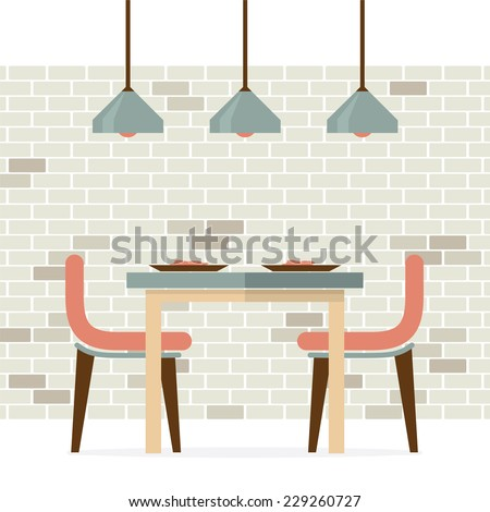 flat design interior dining