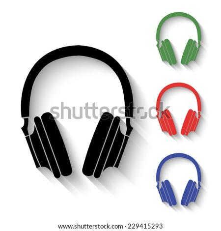 headphones icon   black and