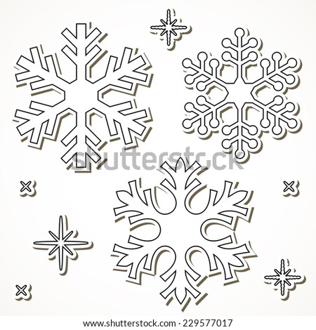 paper cut snowflakes isolated