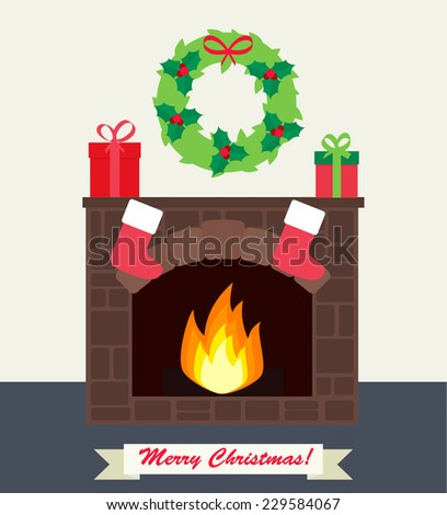 fireplace with gifts  christmas