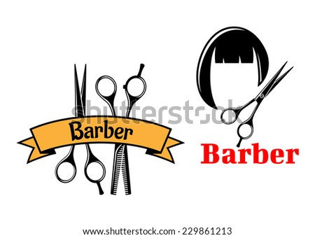 barber icons and emblems  one