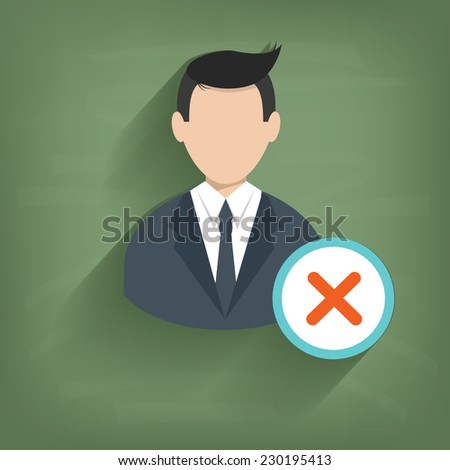 cross businessman on blackboard