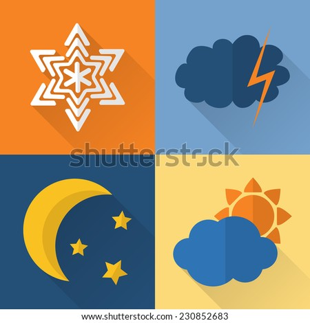 flat style weather icons with