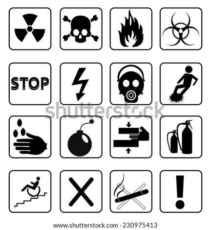 danger icons set