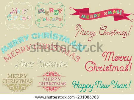 marry christmas  vector set of