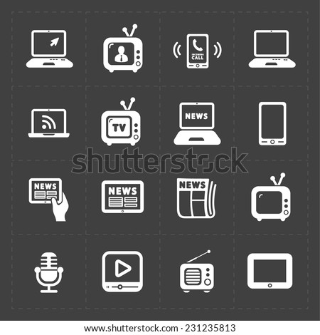 vector media icons set on dark