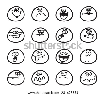 set of funny smiley faces with