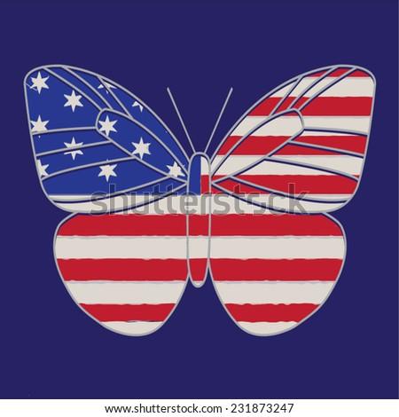 america butterfly illustration