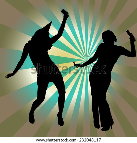 vector silhouette women dancing