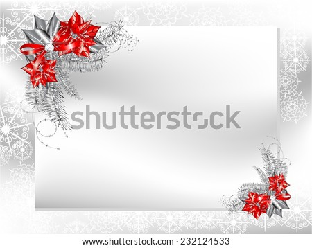 blank card with silver and red