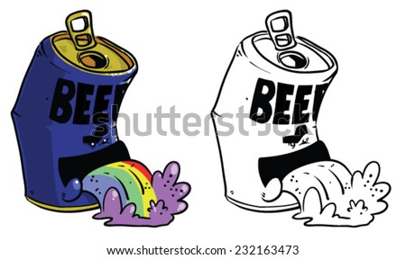 cartoon beer can throwing up