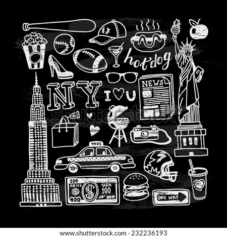 hand drawn new york doodles on