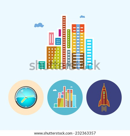modern buildings set with 3