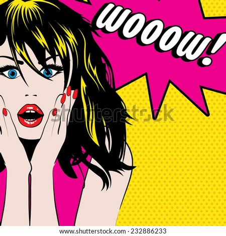 pop art woman wow sign vector