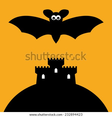 cartoon bat and castle  vector