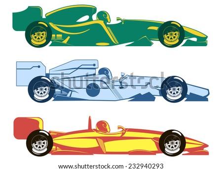 three sports racing car