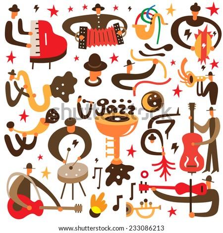 jazz musicians   vector cartoons
