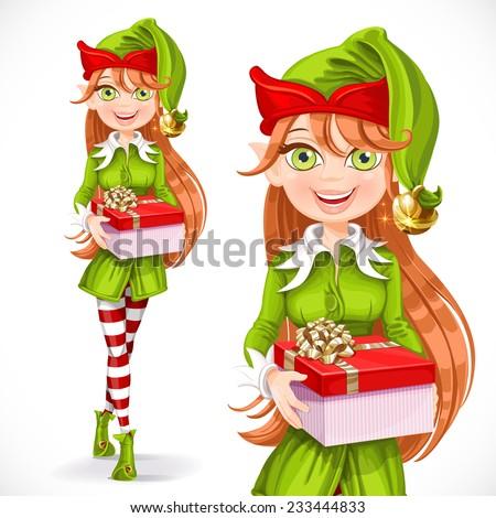 cute girl santa elf give a gift