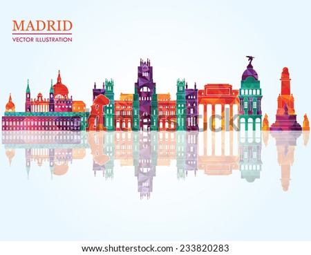 madrid skyline vector