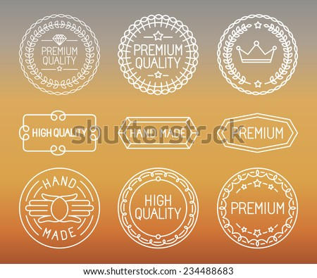 vector set of line badges and