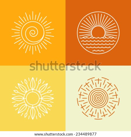 vector outline sun icons and