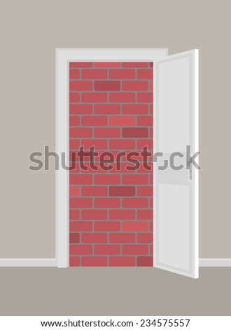 doors to brick wall concept