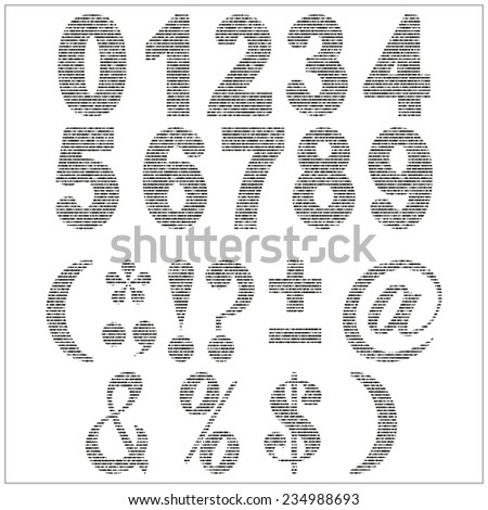 set of vector numerals gray